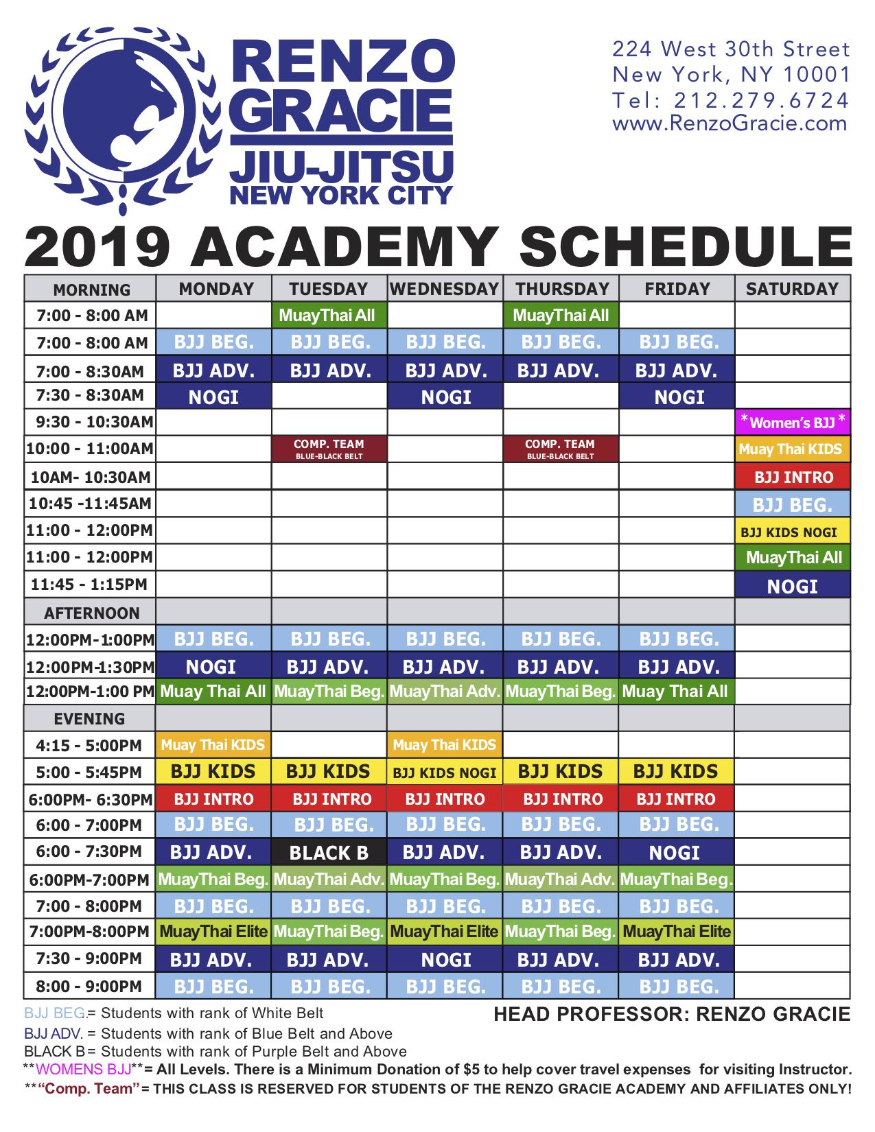 renzo gracie academy class schedule