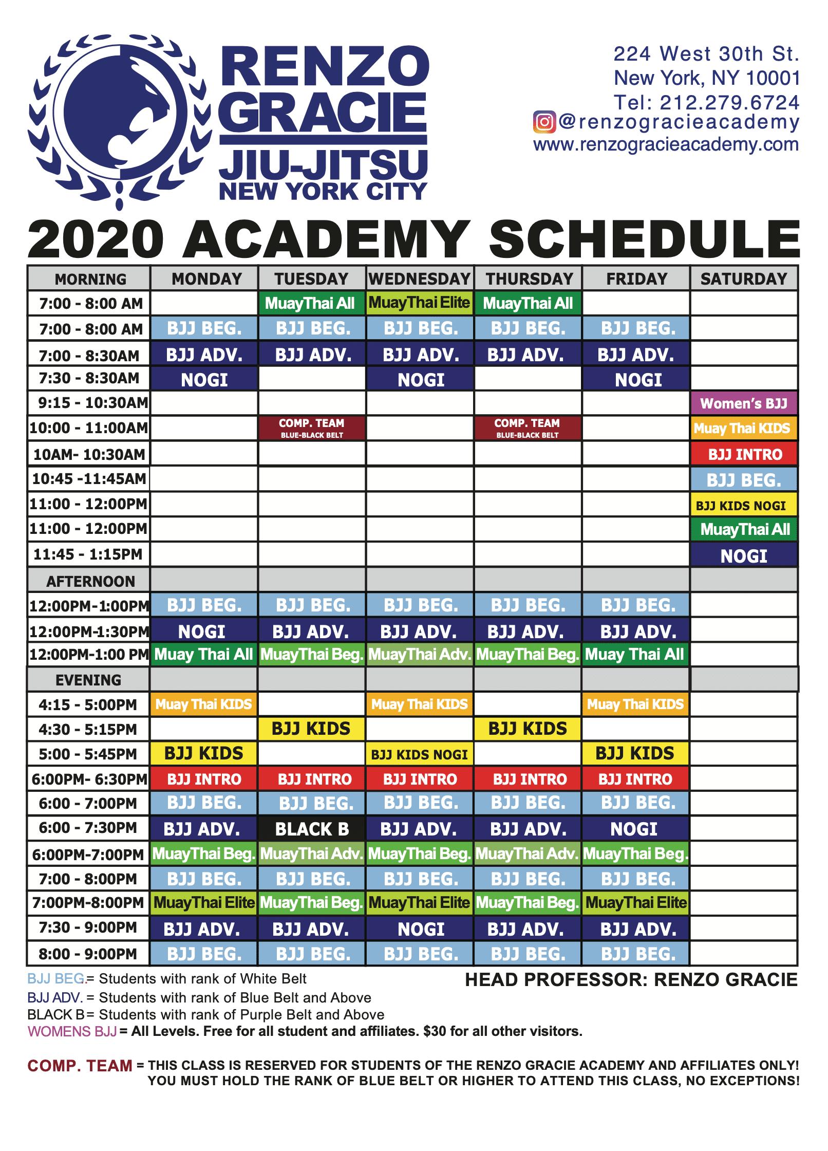 Renzo Gracie Academy 2020 Class Schedule