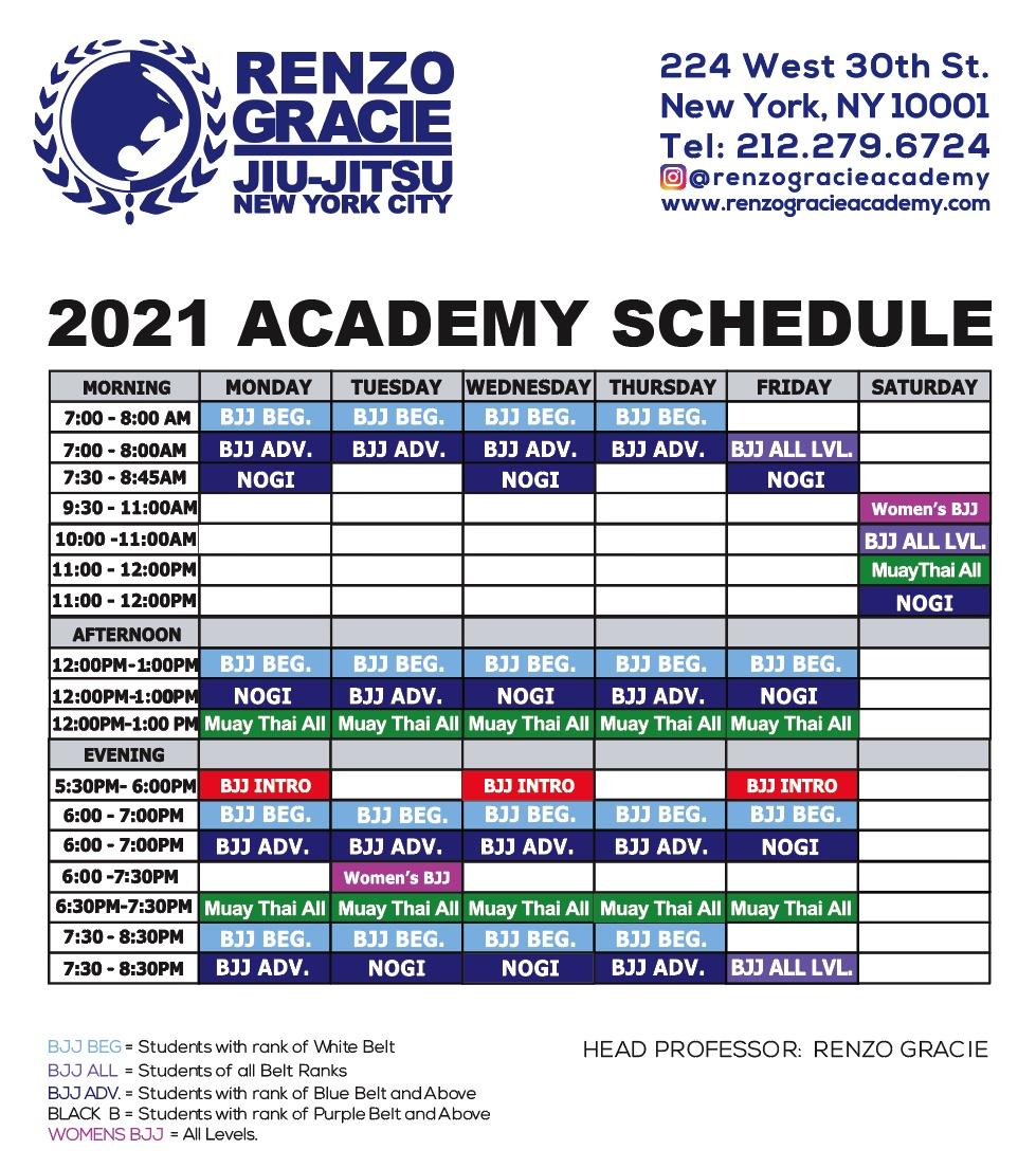 RGA class schedule 2021